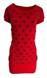 Rockabella Kleid Totenköpfe Rot
