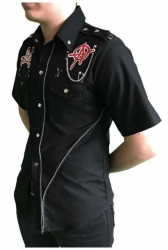 Schwarzes Hemd Totenkopf Stay Out Of Order