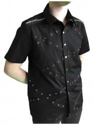 Schwarzes Kurzarm Hemd Ösen