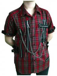 Rotes Punk Hemd Kreuz