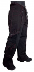 Schwarze Gothic Hose mit Bondage Ketten