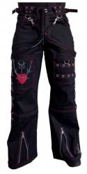 Schwarze Punkrave Hose mit Roten Nähten