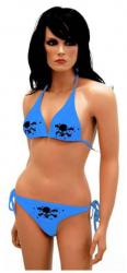 Bikini mit Totenköpfen Blau