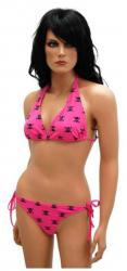 Pinker Neckholder Bikini Totenköpfe