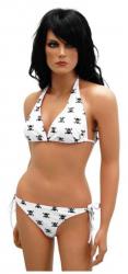 Bikini mit Totenköpfen Weiß