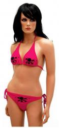 Neckholder Bikini Totenköpfe Pink