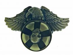 Western Gürtelschnalle Adler| Drehender Totenkopf