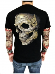 T-Shirt Gepiercter Totenkopf mit Nieten (Glow in the Dark)