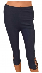 Damen Leggings Schwarz Capri