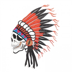 Iron on Patch Indian Skull