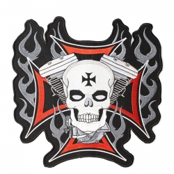 Iron on Patch Iron Cross and Skull