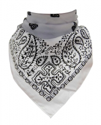 Trendy XL Bandana Paisley Weiß Schwarz