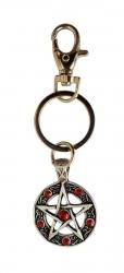 Pentagram Schlüsselanhänger Rote Steine