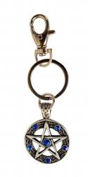 Pentagram Schlüsselanhänger Blaue Steine