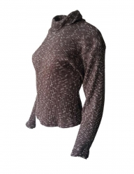 Damen Rollkragen Pullover Braun Meliert