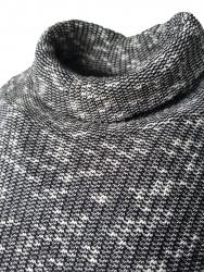 Damen Rollkragen Pullover Grau Meliert