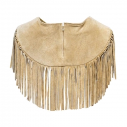 Fringed Vest Beige with Beads