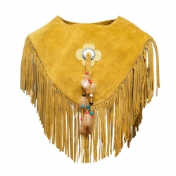 Fringed Vest with floral pendant