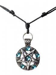 Umgedrehtes Pentagramm mit blauen Steinen