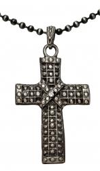 Kugelkette mit Anhänger Kreuz mit Stein
