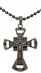 Ball Chain Necklace with large Cross Pendant