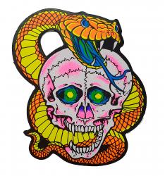 Aufkleber - Totenkopf mit Schlange - Orange