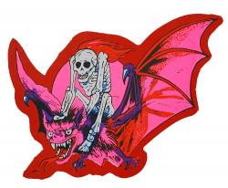 Aufkleber - Skelett mit Fledermaus