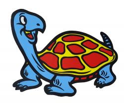 Aufkleber - Happy Turtle- Blau