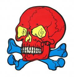 Aufkleber - Roter Totenkopf