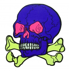 Aufkleber - Großer blauer Totenkopf