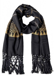 Scarf with fringes golden pattern