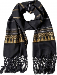 Fringed Scarf with golden pattern