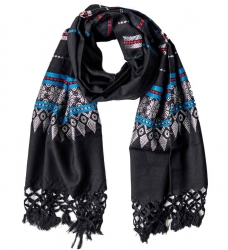 Fringed Scarf with colorful pattern