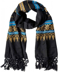Scarf with fringes and colorful pattern