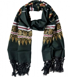 Embroided fringed scarf