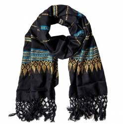 Fringed Scarf with gold embroidery