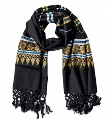 Fringed Scarf with embroidery