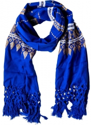 Blue fringed Scarf with gold embroidery