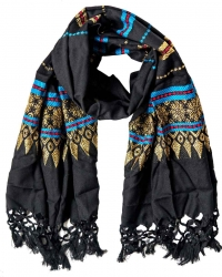 Black scarf with embroidery