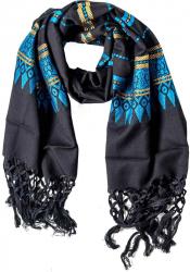 Bestickter Schal mit Fransen