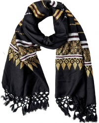 Scarf with fringes and golden embroidery