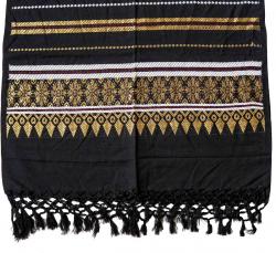 Schal mit Fransen und Goldstickerei