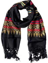 Fringed Scarf with fine golden pattern