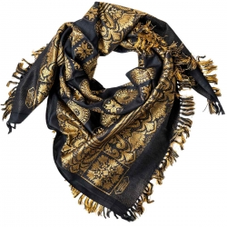 Fringed Scarf with oriental pattern - black golden