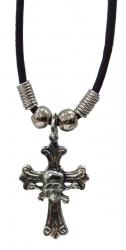 Halskette mit Kreuz und Schädel