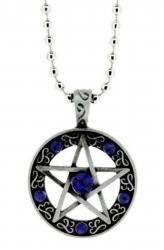 Pentagramm Anhänger Blaue Steine  Halskette