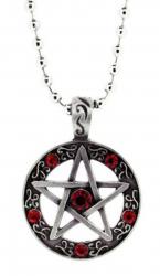 Pentagramm Rote Steine Anhänger  Halskette