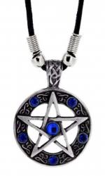 Blaue Steine Pentagramm Anhänger  Halskette