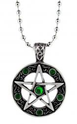 Pentagramm Grüne Steine Anhänger  Halskette