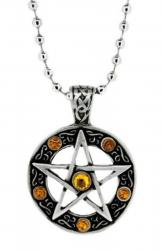 Gelbe Steine Pentagramm Anhänger  Halskette